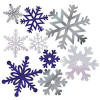 Pack of 144 Shimmering Silver & Blue Foil Christmas Snowflake Cutout Decorations