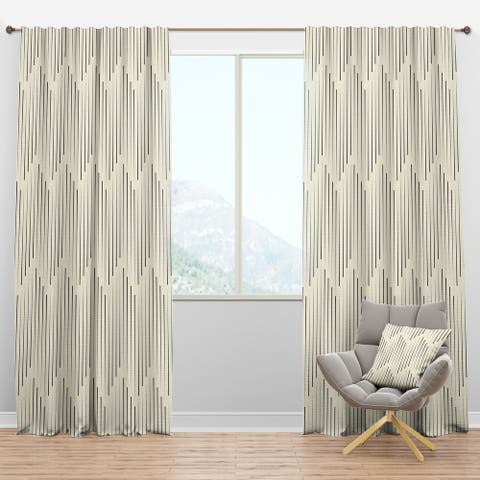 Designart 'Zigzag Minimal Striped Design' Scandinavian Blackout Curtain Panel