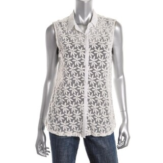 Aqua Womens Cotton Embroidered Button-Down Top - L