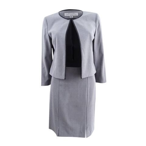 Tahari ASL Women's Petite Faux-Leather-Trim Skirt Suit - Heather Grey/Black