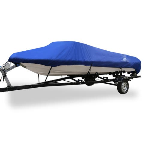 "20-22ft 100"" 300D Polyester Boat Cover Waterproof Blue V-Hull Protector - Fit Length:20-22ft,Beam Width: 100"""