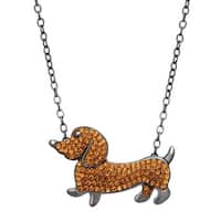 Crystaluxe Dachshund Necklace with Swarovski Crystals in Sterling Silver - brown