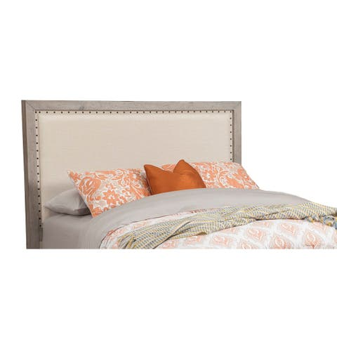 Origins by Alpine Natural Grey Classic Wood and Linen Headboard