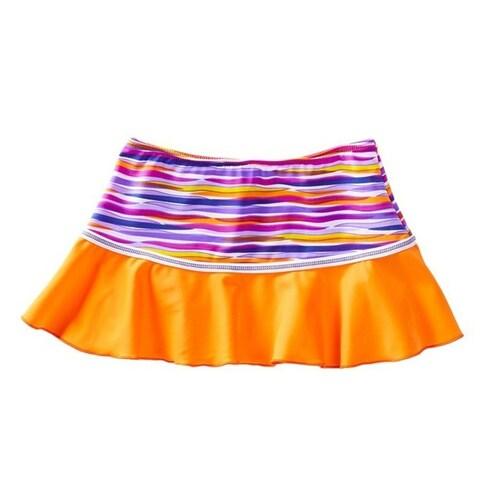Azul Girls Orange Purple Stripe Lilac and Stitch Swim Skirt