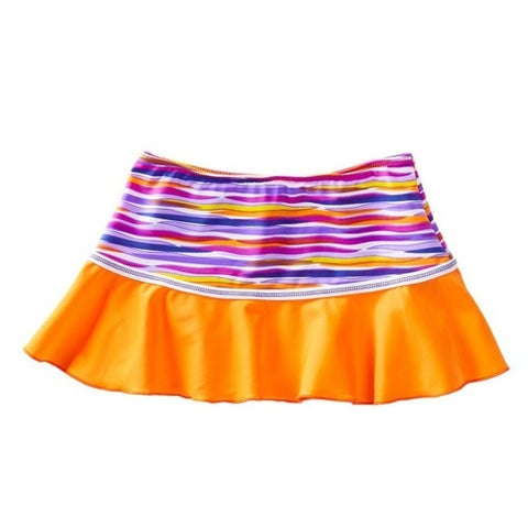 Azul Little Girls Orange Purple Stripe Lilac and Stitch Swim Skirt