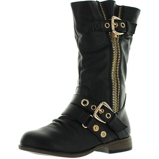 Link Girls Chapter16 Kids Metal Zipper Dual Buckle Mid Calf Motorcycle Boots