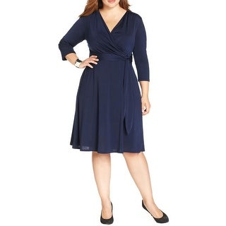 NY Collection Womens Plus Casual Dress Faux Wrap A Line