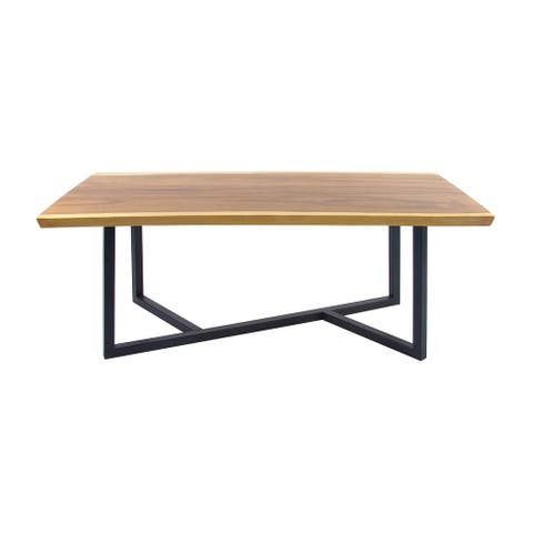 Live Edge Acacia Wood Table w Geometric Black Iron Base - 79 x 40 x 30