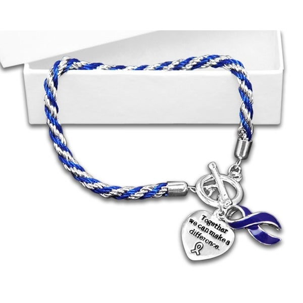 Arthritis Awareness Dark Blue Ribbon Bracelet - Rope