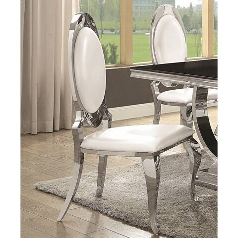 Luxurious Modern Design Chrome Dining Chairs (Set of 2)