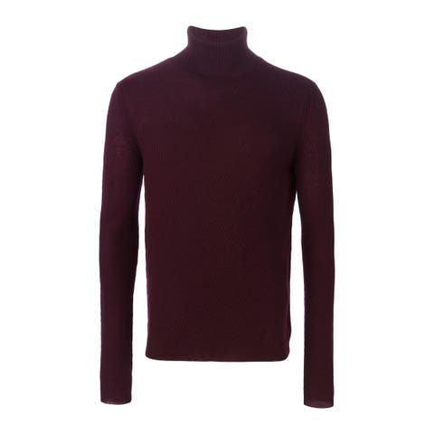 Carven Mens Wool Turtleneck Sweater X-Large XL Burgundy Pullover Knitwear Jumper