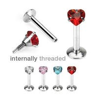 "Surgical Steel Internally Threaded Heart CZ Prong-Set Labret - 16GA 5/16"" Long (3mm Ball) (Sold Ind.)"