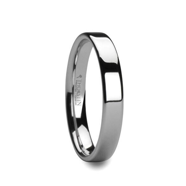 THORSTEN - ADRIANA Flat White Tungsten Wedding Band with Polished Finish - 4mm