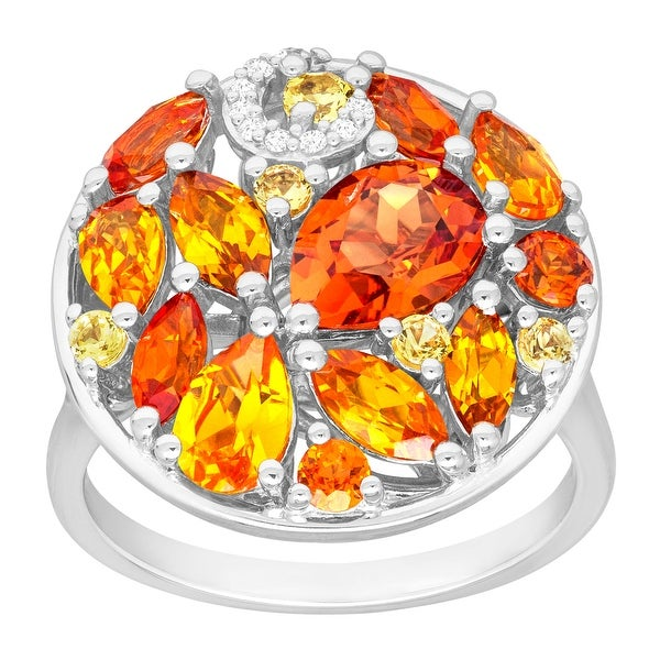 4 1/4 ct Created Multi-Sapphire Ring with Diamonds in Sterling Silver - Orange