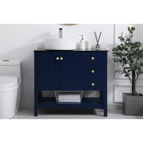 Portland Single Bathroom Vanity Cabinet with Tempered Glass top