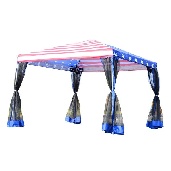 Outsunny 10' x 10' Pop-up Canopy Vendor Tent with Removable Mesh Walls. Opens flyout.