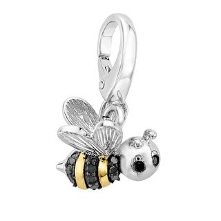 Bee Charm with Black Diamonds in Sterling Silver & 14K Gold