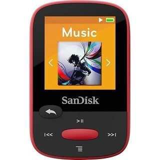 "Sandisk SDMX24-004G-A46R 4gb 1.44"" Clip Sport Mp3 Players (Red) - Red"