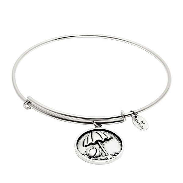 Chrysalis Expandable Beach Ball Bangle Bracelet in Rhodium-Plated Brass - White