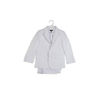 Paperio Boys Formal Suit Flap with Long Tie, Shirt, and Vest White