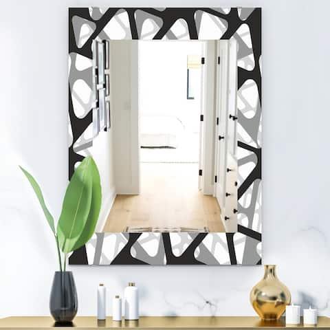 Designart 'Black & White 4' Mid-Century Modern Mirror - Frameless Wall Mirror