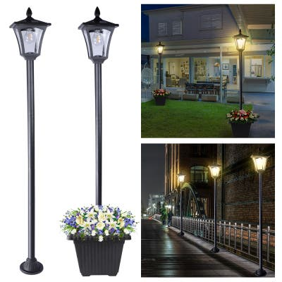 "Solar Powered Lamp Post Lights Outdoor Garden Vintage Street Lighting - 63"" Height"