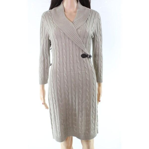e73c826619e Shop Calvin Klein Beige Cable-Knit Womens Buckle Sweater Dress - On ...