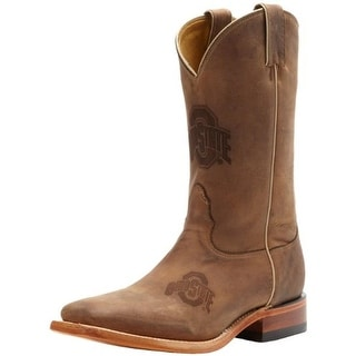 Nocona Boots Mens Ohio State Branded Leather Graphic Cowboy, Western Boots