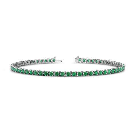 TriJewels Gemstone 3-Prong Womens Eternity Tennis Bracelet Gold