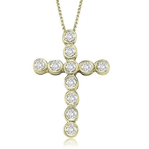 0.75 cttw. 14K Yellow Gold Bezel Diamond Cross Pendant