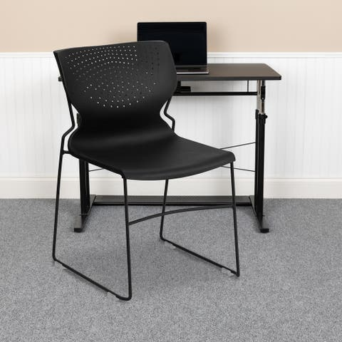 661 lb. Capacity Full Back Stack Chair with Powder Coated Frame