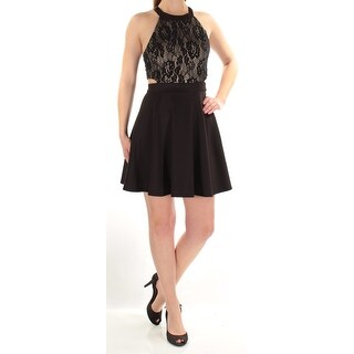Womens Black Sleeveless Mini Fit + Flare Cocktail Dress Size: 7