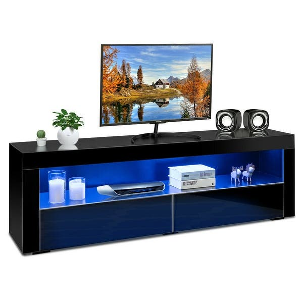 Costway High Gloss Tv Stand Media Entertainment W Led Lights Drawers For 65 Tv Black Overstock 20516945