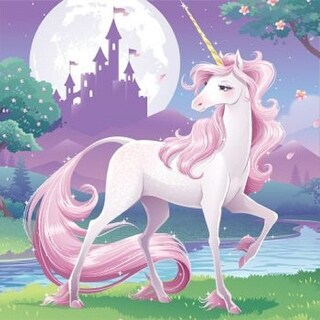 """Club Pack of 192 Purple and Pink Unicorn Fantasy Disposable Party Napkins 5"""""""