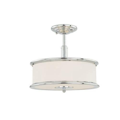 Vaxcel Lighting C0099 Carlisle 3 Light Semi-Flush Ceiling Fixture with Round Frosted Glass Shade