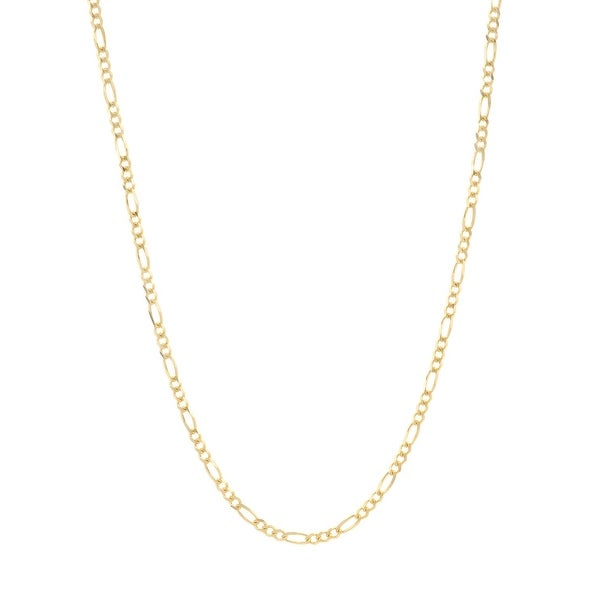 Mcs Jewelry Inc 10 KARAT GOLD HOLLOW FIGARO CHAIN NECKLACE (2mm) - Yellow