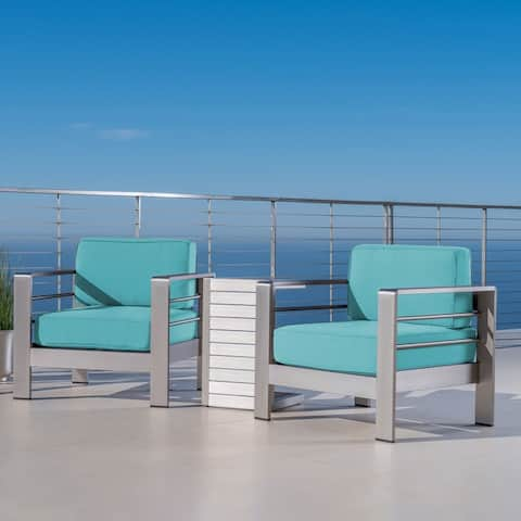 Cape Coral Outdoor Chat Set with Side Table by Christopher Knight Home