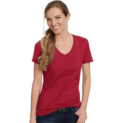 Hanes Women's Nano-T® V-Neck T-Shirt - Size - L - Color - Vintage Red