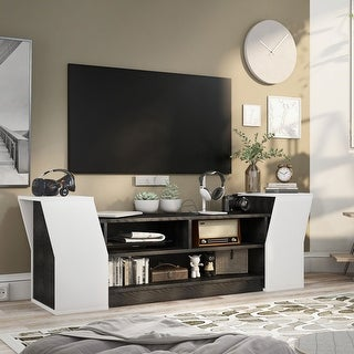 Link to Furniture of America Tai Contemporary 71-inch 3-open Shelf TV Stand Similar Items in Media Cabinets