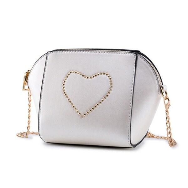 06039c7aa Women's Fashion Love Heart Chain Faux Leather Envelope Rivet Crossbody  Bag