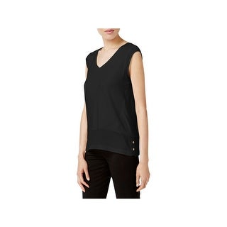 Calvin Klein Womens Casual Top Georgette Trim V-Neck