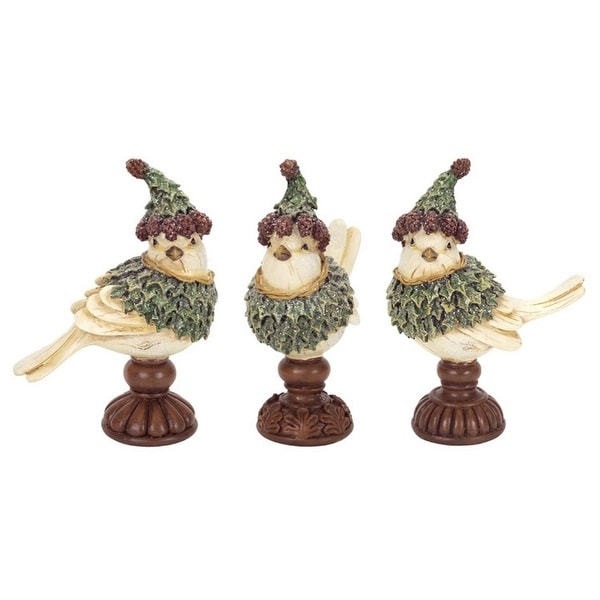 """Set of 6 Green and Brown Holly Birds Figurine on Pedestal Tabletops 6.5"""""""