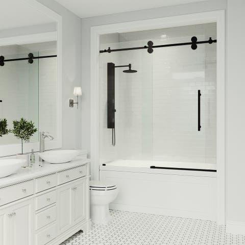 VIGO 60-Inch Elan Adjustable Frameless Sliding Tub Door in Matte Black