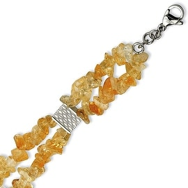 Chisel Stainless Steel Citrine Chip 7 Inch with 1 Inch Extension Bracelet