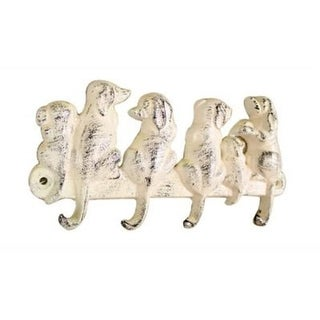 Handcrafted Model Ships 8 in. Whitewashed Cast Iron Dog Wall Hooks