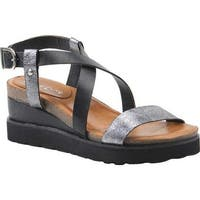 Diba True Women's Good Timing Wedge Sandal Pewter/Black Leather