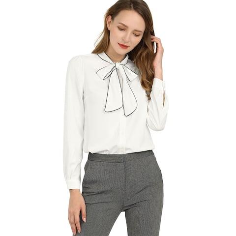 Unique Bargains Women's Tie Neck Contrast Color Button Down Long Sleeves Shirt - White