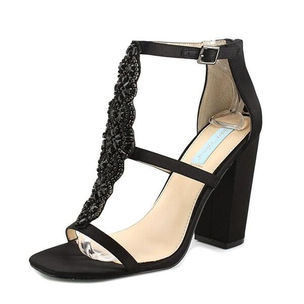 Betsey Johnson Lydia Women Open Toe Canvas Black Sandals
