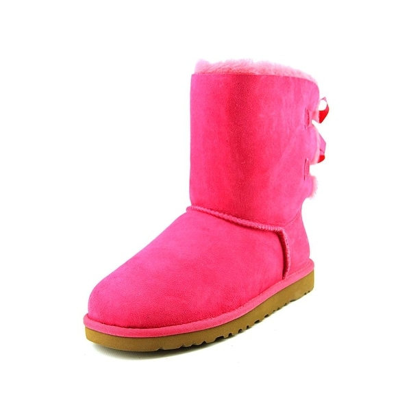Ugg Australia Bailey Bow Youth Round Toe Suede Pink Winter Boot