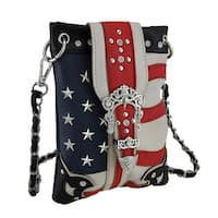American Flag Inspired Rhinestone Buckle Crossbody Bag with Removable Strap